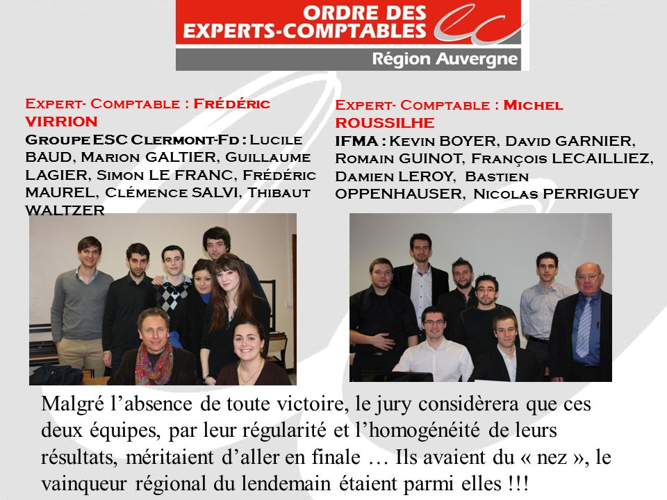Expert- Comptable : Frédéric VIRRION Groupe ESC Clermont-Fd : Lucile BAUD, Marion GALTIER, Guillaume LAGIER, Simon LE FRANC, Frédéric MAUREL, Clémence