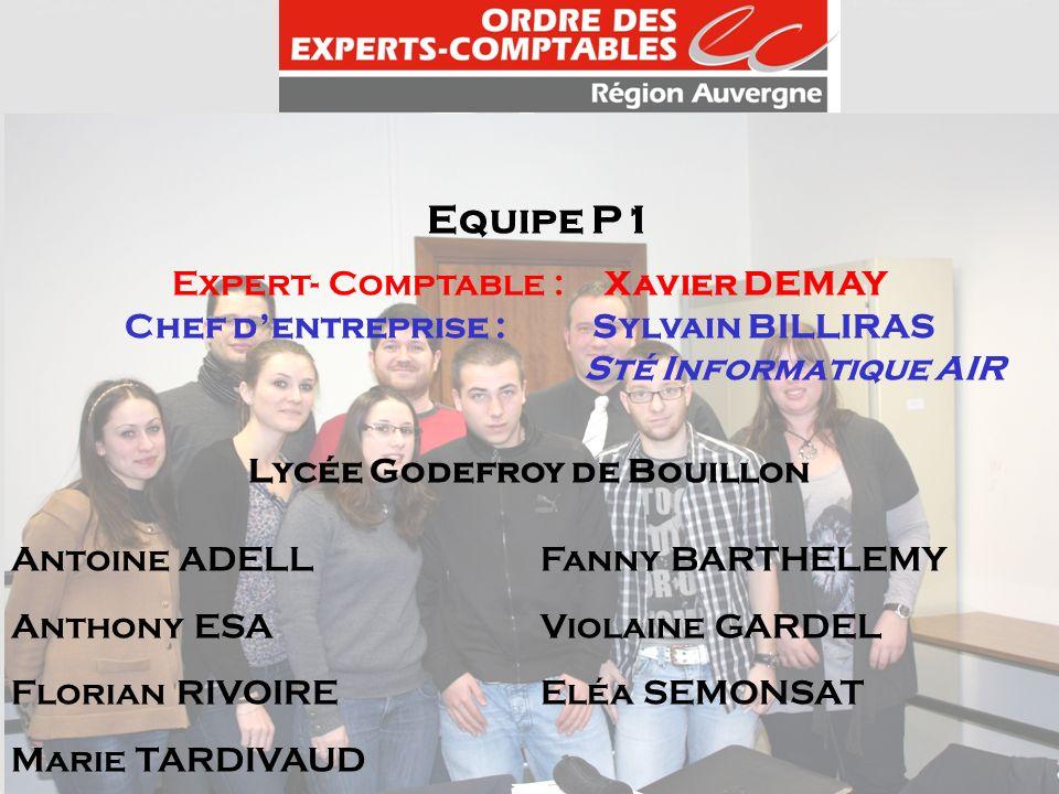 Equipe P1 Expert- Comptable : Xavier DEMAY Chef dentreprise : Sylvain BILLIRAS Sté Informatique AIR Lycée Godefroy de Bouillon Antoine ADELLFanny BART