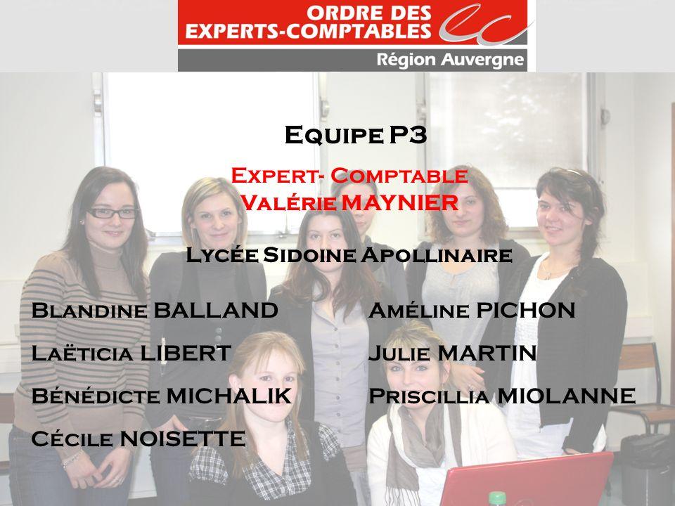 Equipe P3 Expert- Comptable Valérie MAYNIER Lycée Sidoine Apollinaire Blandine BALLANDAméline PICHON Laëticia LIBERTJulie MARTIN Bénédicte MICHALIKPri