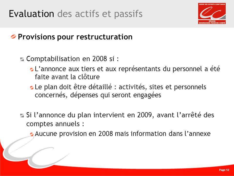 Page 12 Evaluation des actifs et passifs Provisions pour restructuration Comptabilisation en 2008 si : Lannonce aux tiers et aux représentants du pers