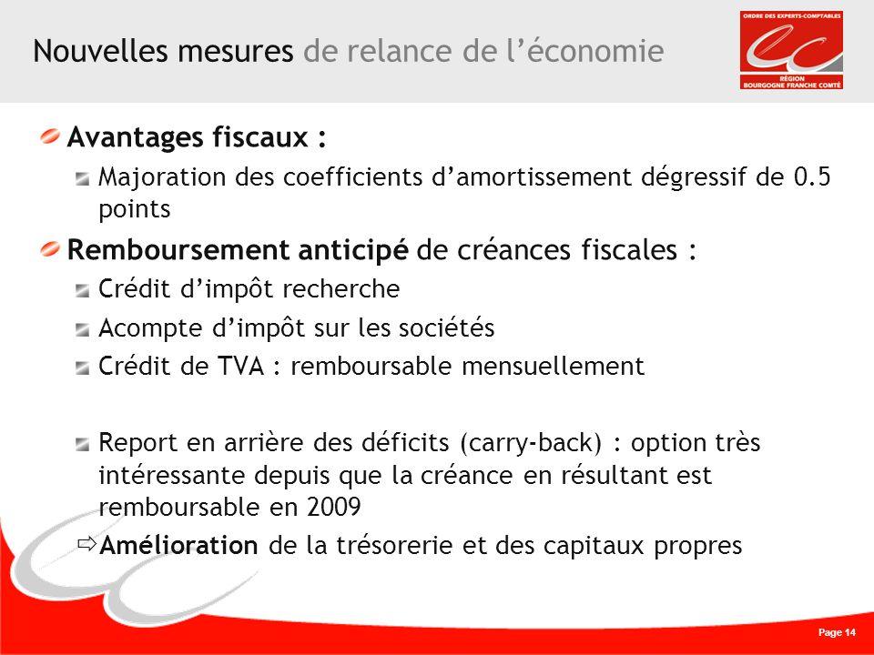 Page 14 Nouvelles mesures de relance de léconomie Avantages fiscaux : Majoration des coefficients damortissement dégressif de 0.5 points Remboursement