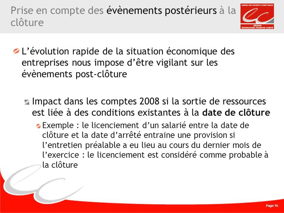 Page 15 Prise en compte des évènements postérieurs à la clôture Lévolution rapide de la situation économique des entreprises nous impose dêtre vigilan