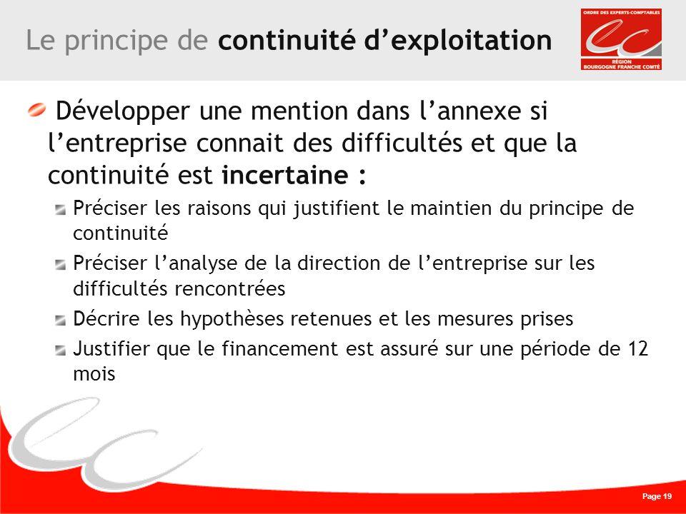 Page 19 Le principe de continuité dexploitation Développer une mention dans lannexe si lentreprise connait des difficultés et que la continuité est in