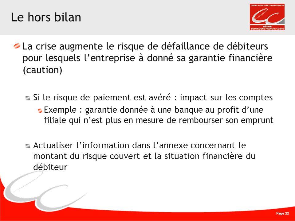 Page 22 Le hors bilan La crise augmente le risque de défaillance de débiteurs pour lesquels lentreprise à donné sa garantie financière (caution) Si le