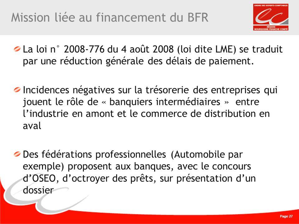 Page 27 Mission liée au financement du BFR La loi n° 2008-776 du 4 août 2008 (loi dite LME) se traduit par une réduction générale des délais de paieme