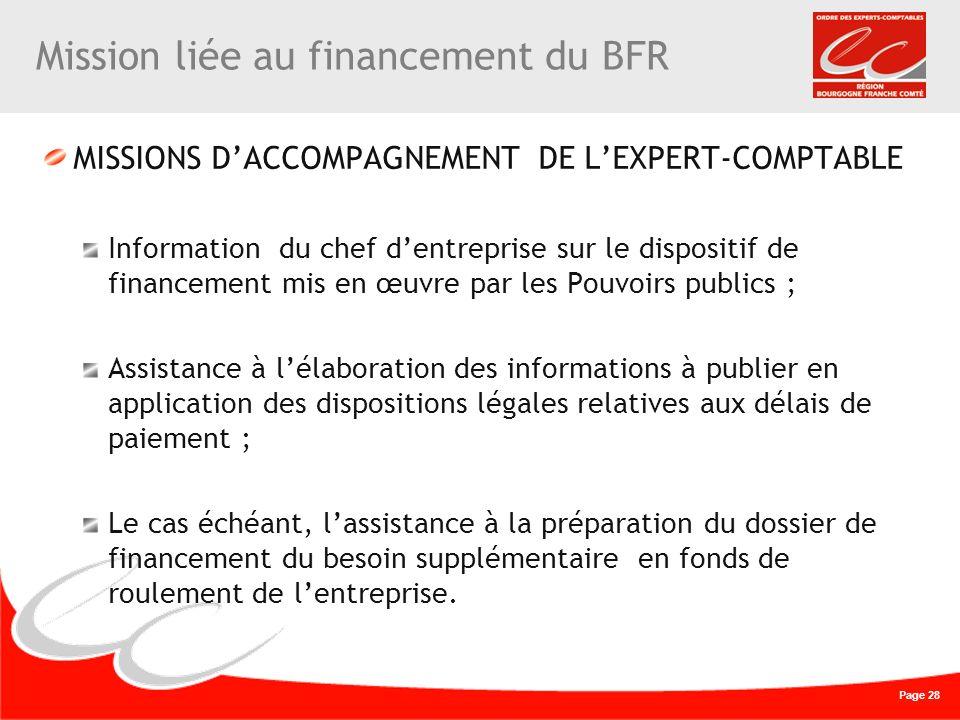 Page 28 Mission liée au financement du BFR MISSIONS DACCOMPAGNEMENT DE LEXPERT-COMPTABLE Information du chef dentreprise sur le dispositif de financem