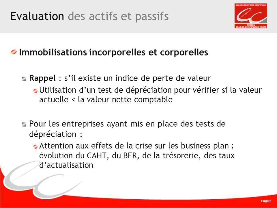 Page 6 Evaluation des actifs et passifs Immobilisations incorporelles et corporelles Rappel : sil existe un indice de perte de valeur Utilisation dun