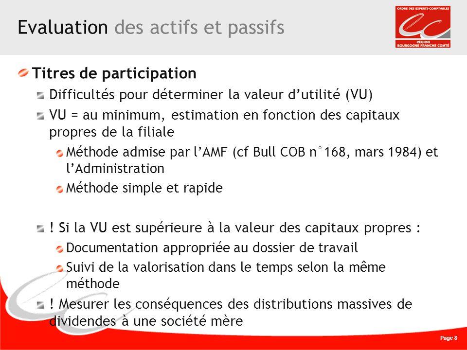 Page 8 Evaluation des actifs et passifs Titres de participation Difficultés pour déterminer la valeur dutilité (VU) VU = au minimum, estimation en fon
