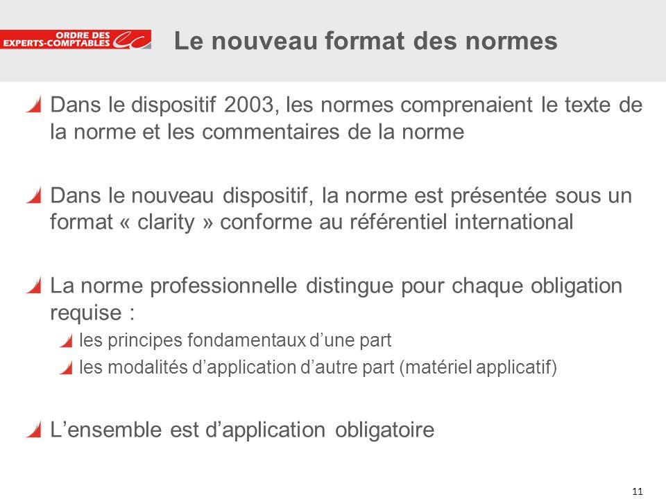 11 Le nouveau format des normes Dans le dispositif 2003, les normes comprenaient le texte de la norme et les commentaires de la norme Dans le nouveau