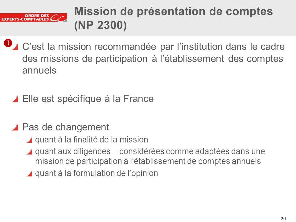 20 Mission de présentation de comptes (NP 2300) Cest la mission recommandée par linstitution dans le cadre des missions de participation à létablissem