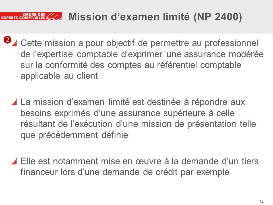 24 Mission dexamen limité (NP 2400) Cette mission a pour objectif de permettre au professionnel de lexpertise comptable dexprimer une assurance modéré