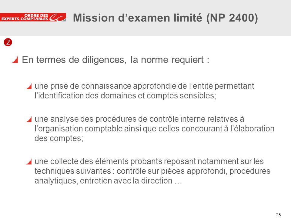 25 Mission dexamen limité (NP 2400) En termes de diligences, la norme requiert : une prise de connaissance approfondie de lentité permettant lidentifi