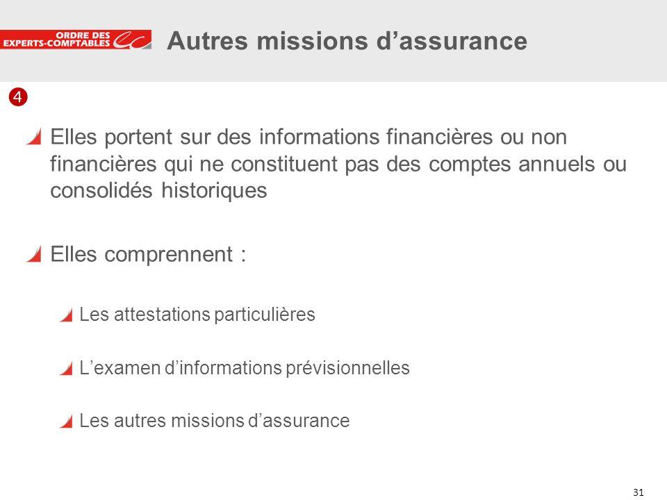 31 Autres missions dassurance Elles portent sur des informations financières ou non financières qui ne constituent pas des comptes annuels ou consolid