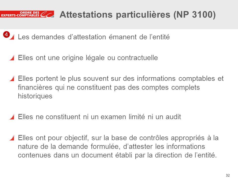 32 Attestations particulières (NP 3100) Les demandes dattestation émanent de lentité Elles ont une origine légale ou contractuelle Elles portent le pl