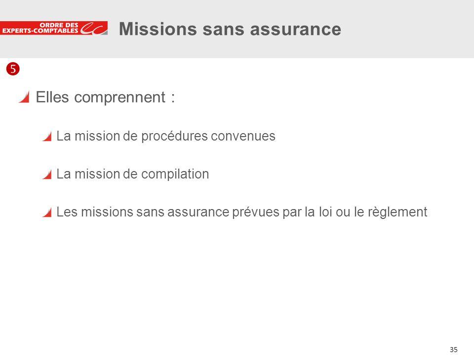 35 Missions sans assurance Elles comprennent : La mission de procédures convenues La mission de compilation Les missions sans assurance prévues par la