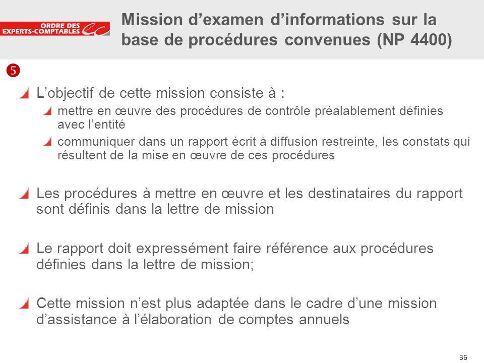 36 Mission dexamen dinformations sur la base de procédures convenues (NP 4400) Lobjectif de cette mission consiste à : mettre en œuvre des procédures