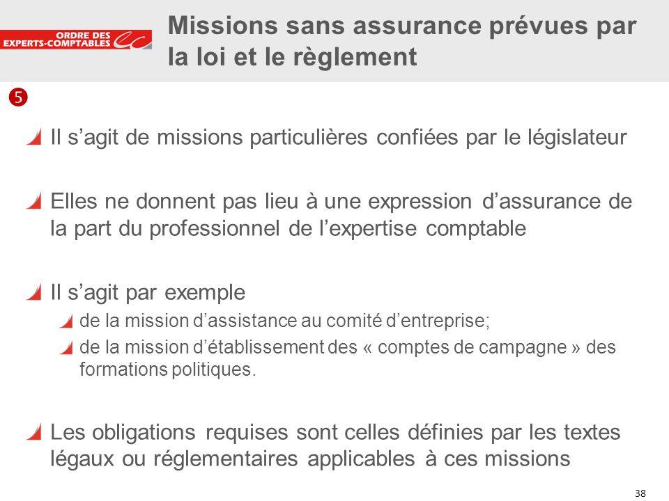 38 Missions sans assurance prévues par la loi et le règlement Il sagit de missions particulières confiées par le législateur Elles ne donnent pas lieu