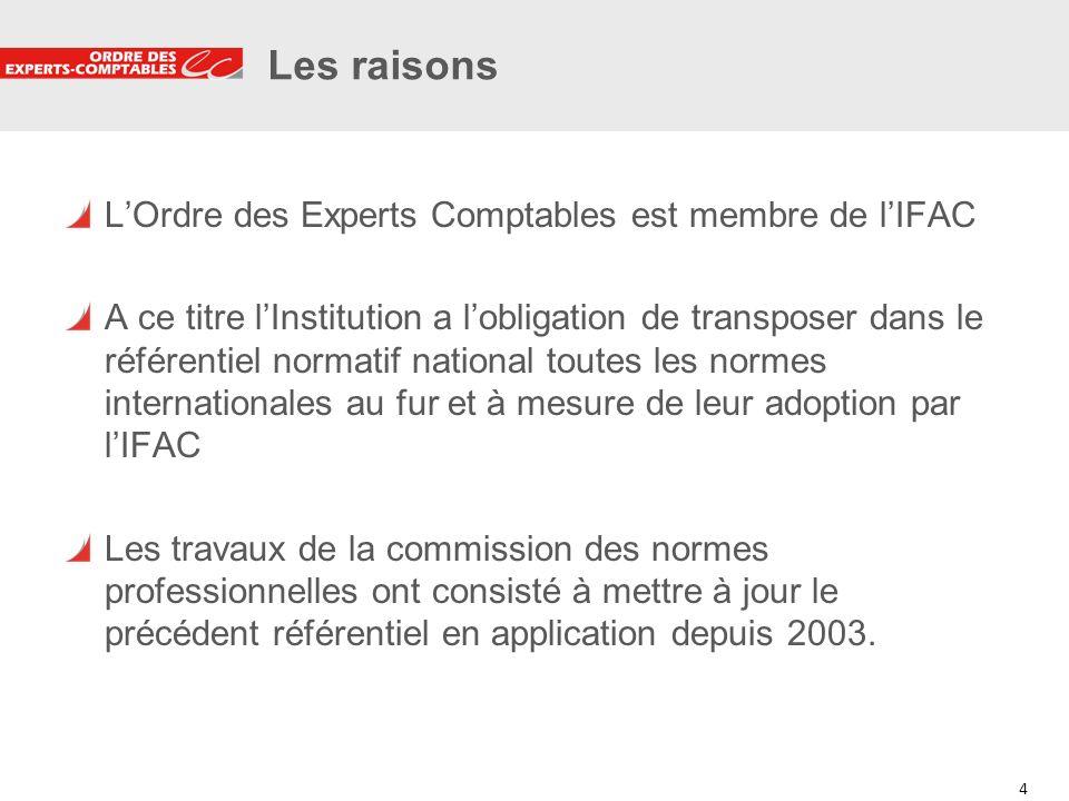 4 4 Les raisons LOrdre des Experts Comptables est membre de lIFAC A ce titre lInstitution a lobligation de transposer dans le référentiel normatif nat