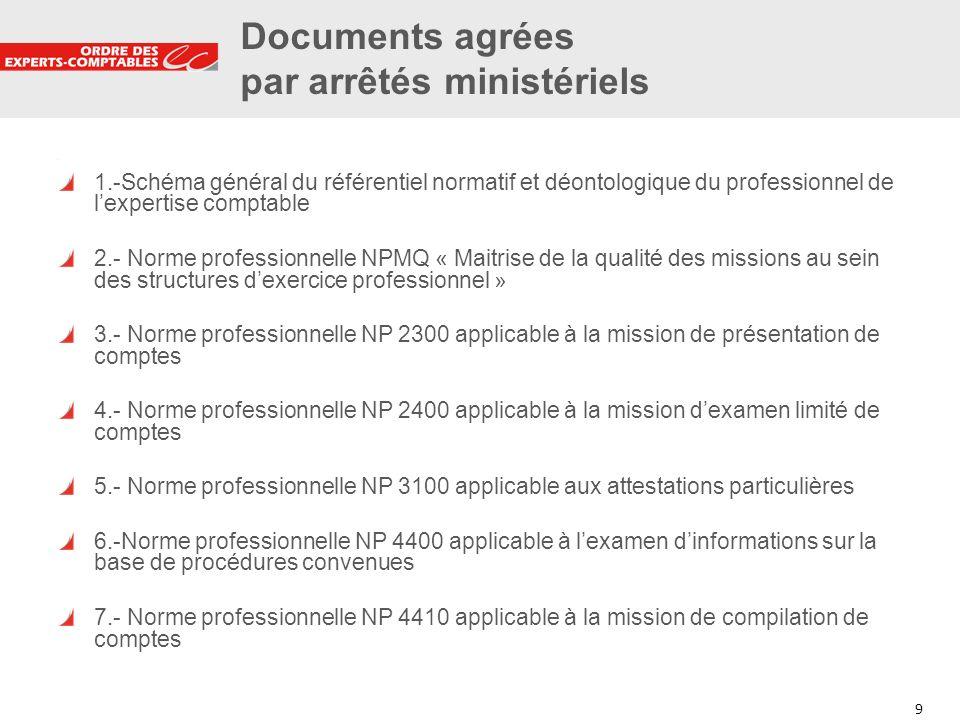 9 9 Documents agrées par arrêtés ministériels 1.-Schéma général du référentiel normatif et déontologique du professionnel de lexpertise comptable 2.-