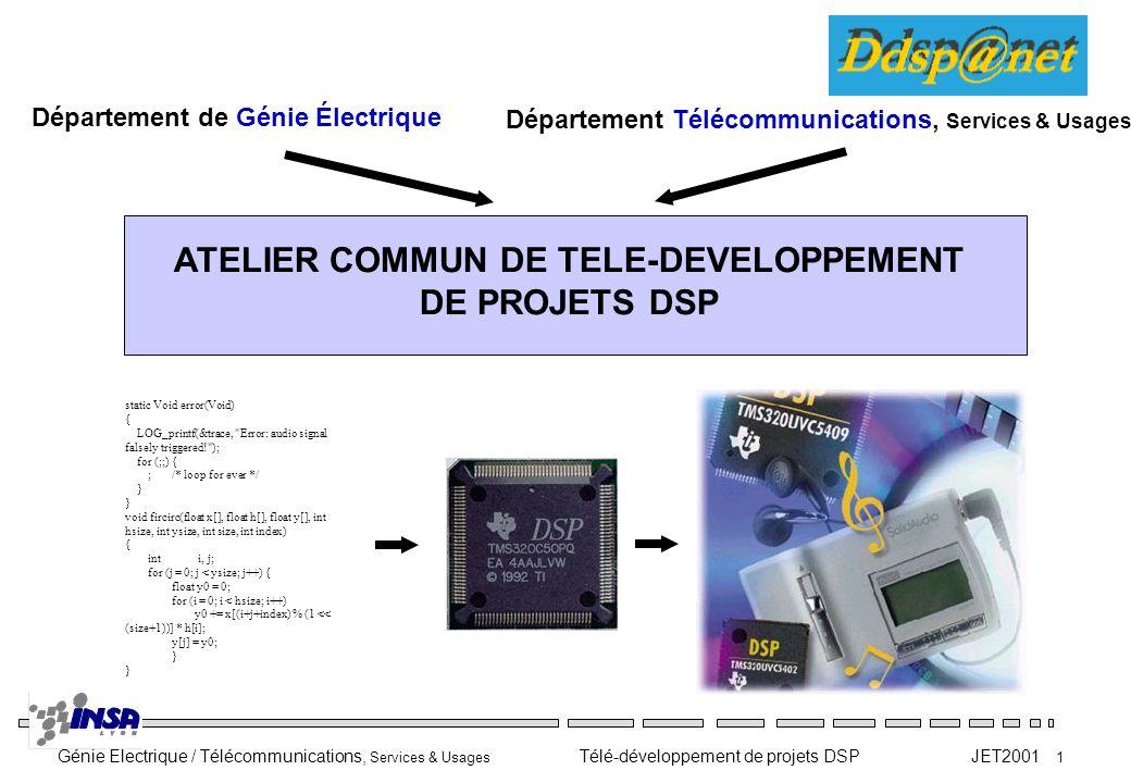 Génie Electrique / Télécommunications, Services & Usages Télé-développement de projets DSP JET2001 1 ATELIER COMMUN DE TELE-DEVELOPPEMENT DE PROJETS D