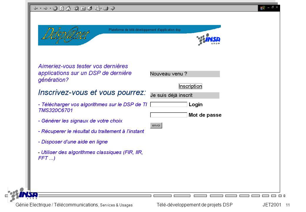 Génie Electrique / Télécommunications, Services & Usages Télé-développement de projets DSP JET2001 11