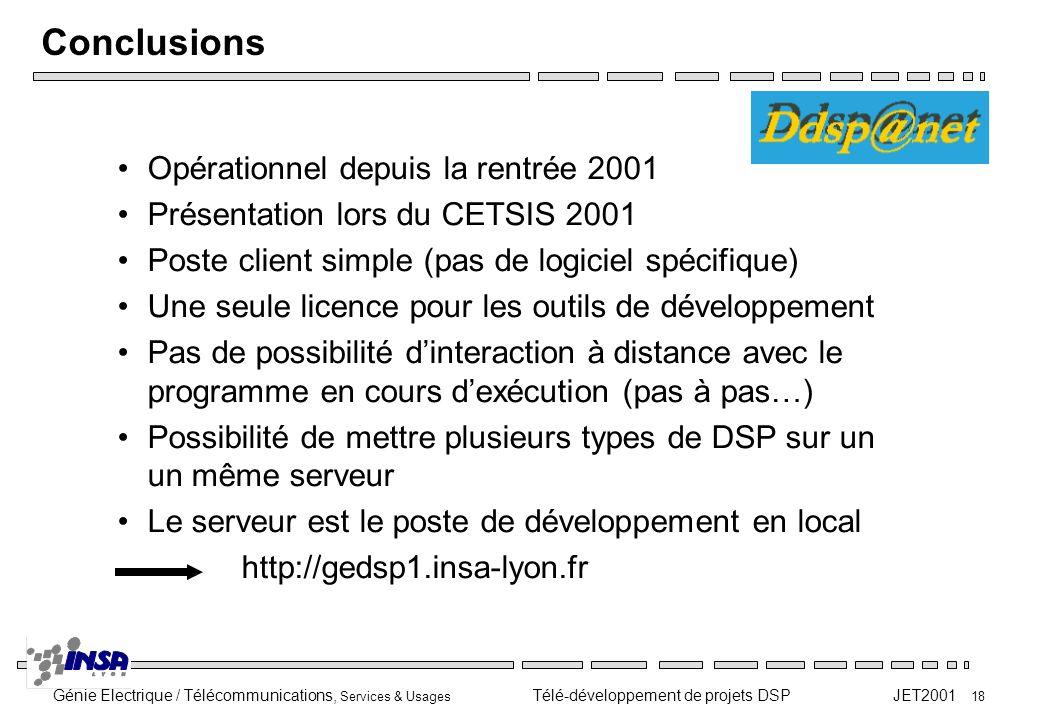 Génie Electrique / Télécommunications, Services & Usages Télé-développement de projets DSP JET2001 18 Conclusions Opérationnel depuis la rentrée 2001