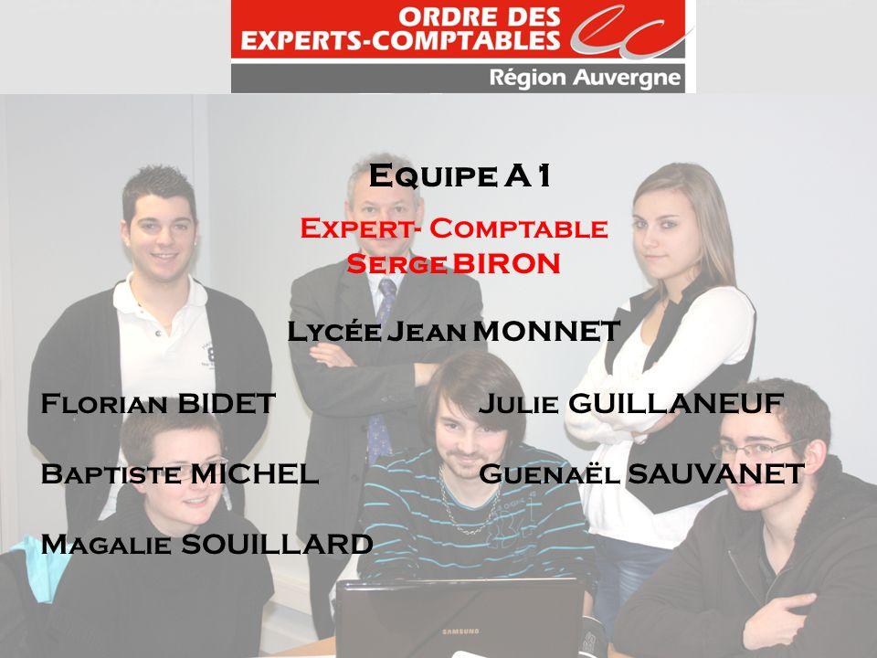 Equipe A1 Expert- Comptable Serge BIRON Lycée Jean MONNET Florian BIDETJulie GUILLANEUF Baptiste MICHELGuenaël SAUVANET Magalie SOUILLARD