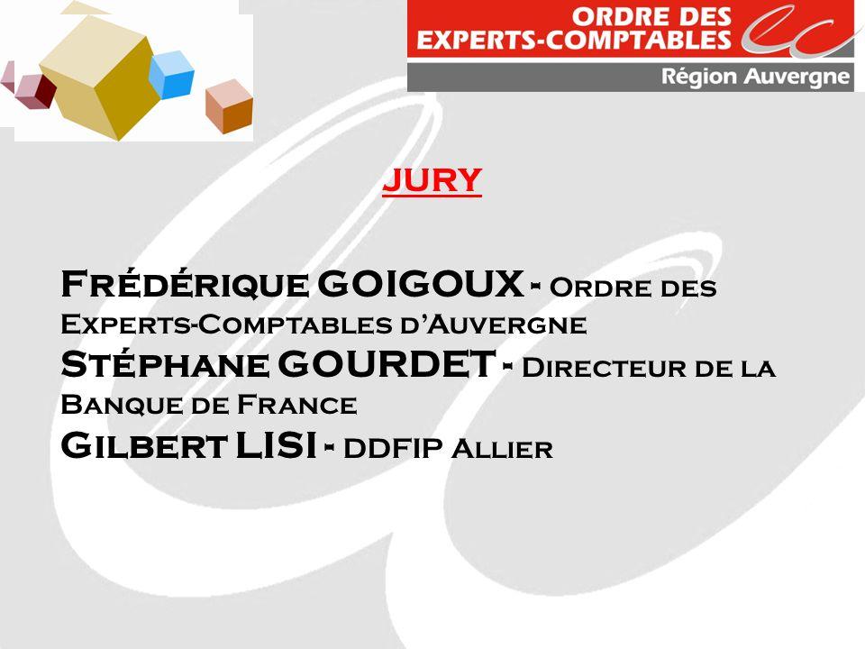 JURY Frédérique GOIGOUX - Ordre des Experts-Comptables dAuvergne Stéphane GOURDET - Directeur de la Banque de France Gilbert LISI - DDFIP Allier