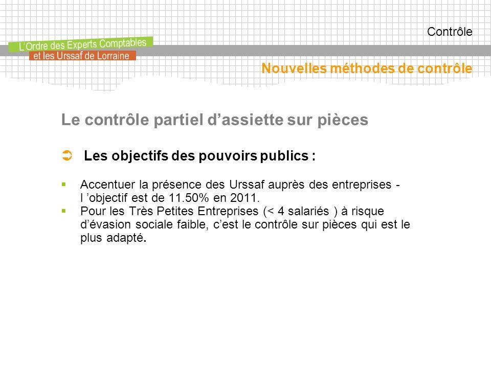 Contrôle Le contrôle partiel dassiette sur pièces Les objectifs des pouvoirs publics : Accentuer la présence des Urssaf auprès des entreprises - l objectif est de 11.50% en 2011.