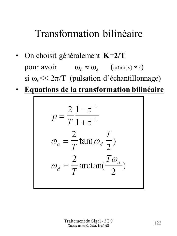 122 Traitement du Sigal - 3TC Transparents C. Odet, Prof. GE Transformation bilinéaire On choisit généralement K=2/T pour avoir d a ( artan(x) x ) si