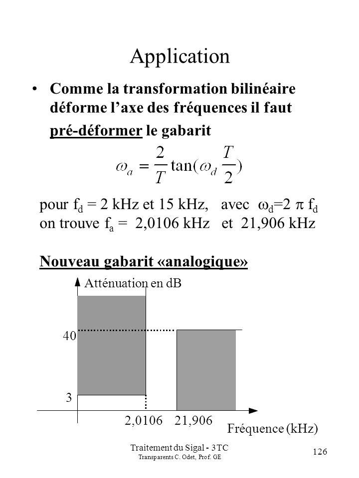126 Traitement du Sigal - 3TC Transparents C. Odet, Prof. GE Application Comme la transformation bilinéaire déforme laxe des fréquences il faut pré-dé