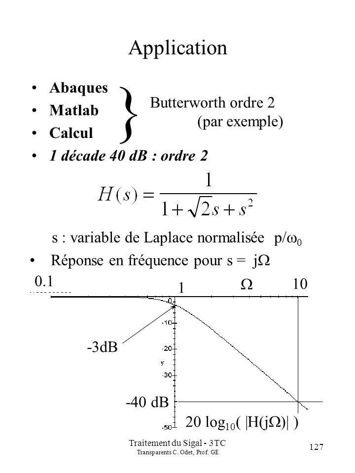 127 Traitement du Sigal - 3TC Transparents C. Odet, Prof. GE Application Abaques Matlab Calcul 1 décade 40 dB : ordre 2 } Butterworth ordre 2 (par exe