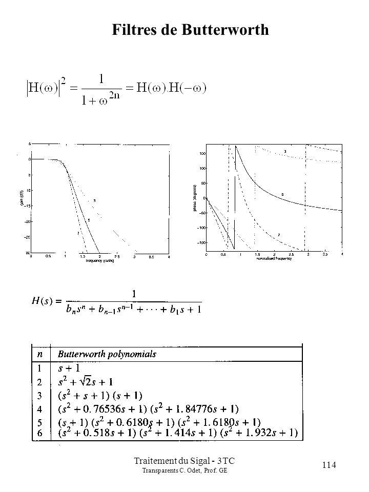 114 Traitement du Sigal - 3TC Transparents C. Odet, Prof. GE Filtres de Butterworth