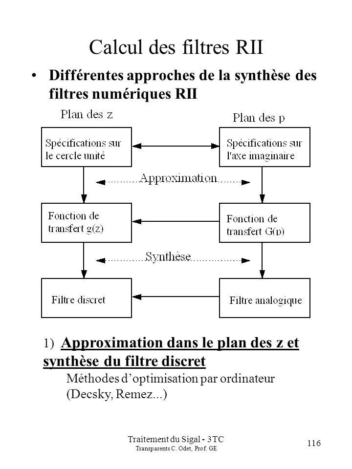 116 Traitement du Sigal - 3TC Transparents C. Odet, Prof. GE Calcul des filtres RII Différentes approches de la synthèse des filtres numériques RII 1)