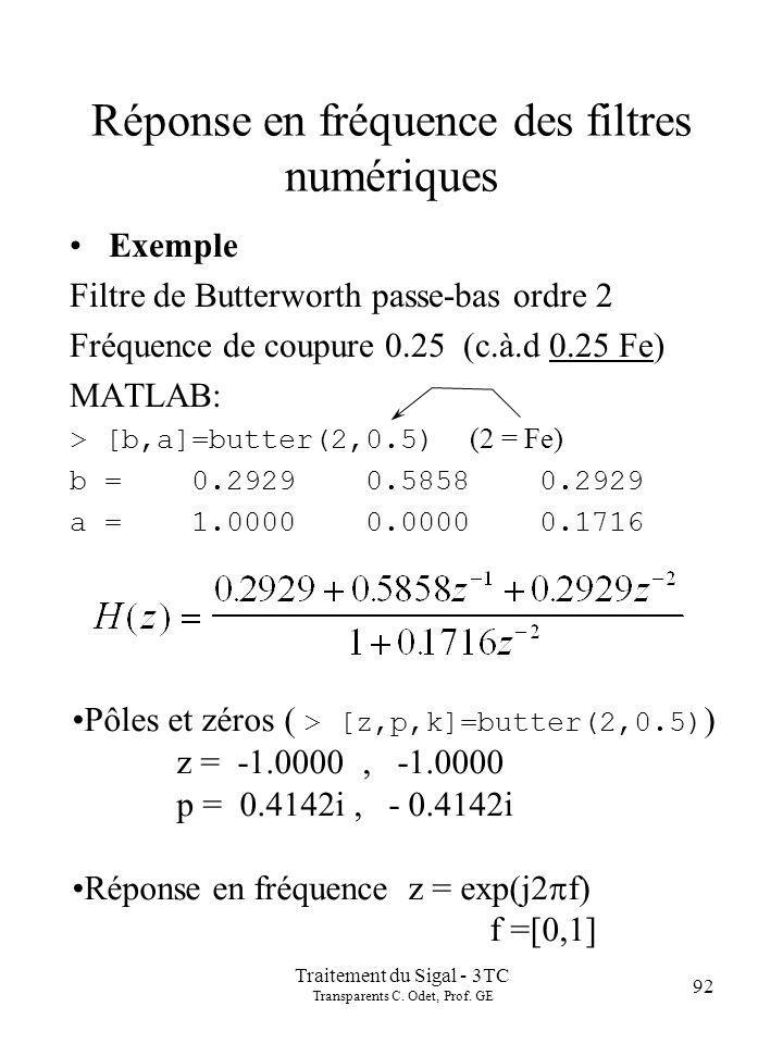 Traitement du Sigal - 3TC Transparents C. Odet, Prof. GE 92 Réponse en fréquence des filtres numériques Exemple Filtre de Butterworth passe-bas ordre