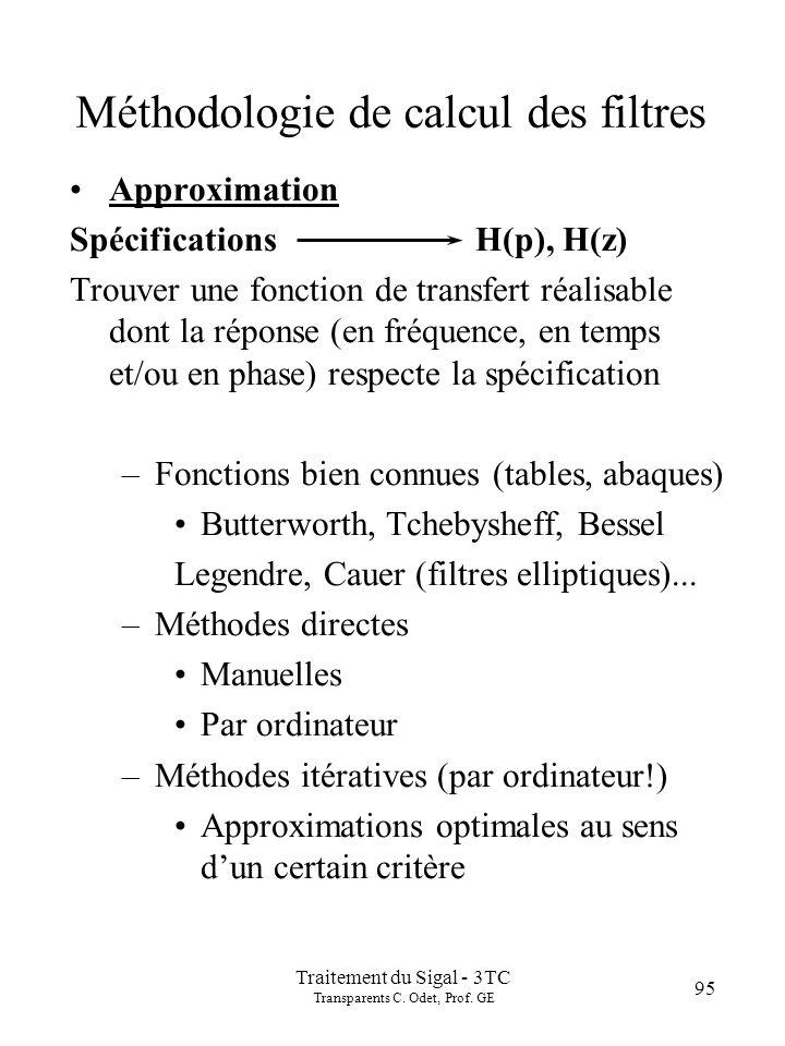 Traitement du Sigal - 3TC Transparents C. Odet, Prof. GE 95 Approximation Spécifications H(p), H(z) Trouver une fonction de transfert réalisable dont