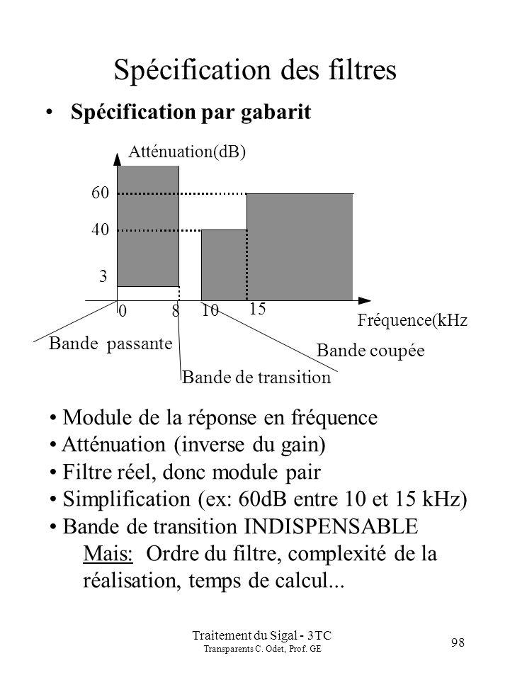 Traitement du Sigal - 3TC Transparents C. Odet, Prof. GE 98 Spécification des filtres Spécification par gabarit Atténuation(dB) Fréquence(kHz 8 10 0 6