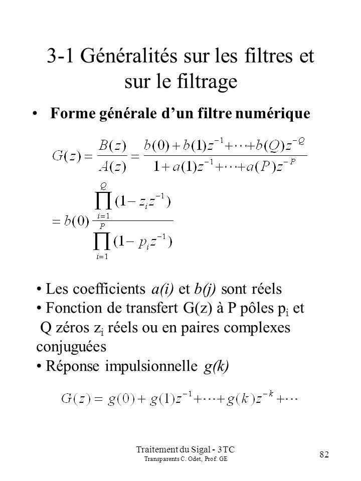 Traitement du Sigal - 3TC Transparents C. Odet, Prof. GE 82 3-1 Généralités sur les filtres et sur le filtrage Forme générale dun filtre numérique Les