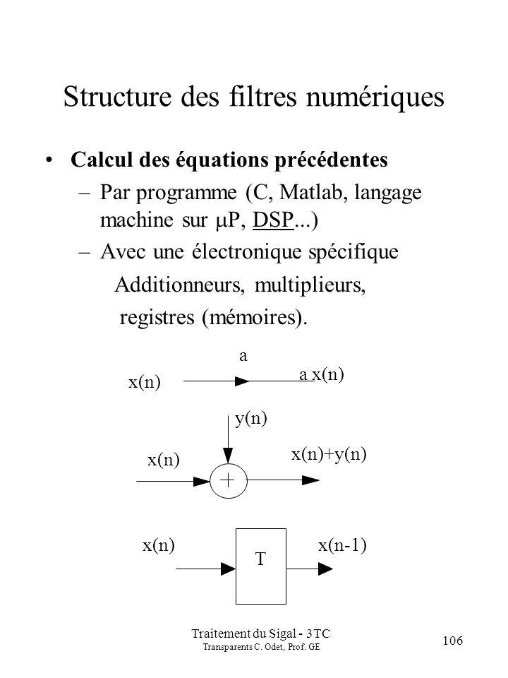 Traitement du Sigal - 3TC Transparents C. Odet, Prof. GE 106 Structure des filtres numériques Calcul des équations précédentes –Par programme (C, Matl