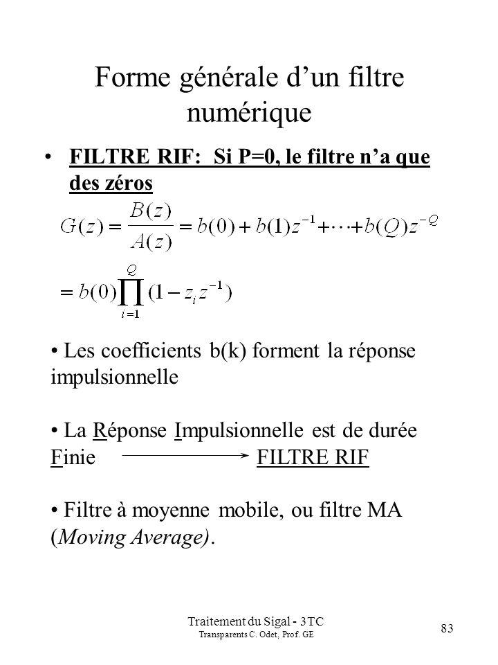 Traitement du Sigal - 3TC Transparents C. Odet, Prof. GE 83 Forme générale dun filtre numérique FILTRE RIF: Si P=0, le filtre na que des zéros Les coe