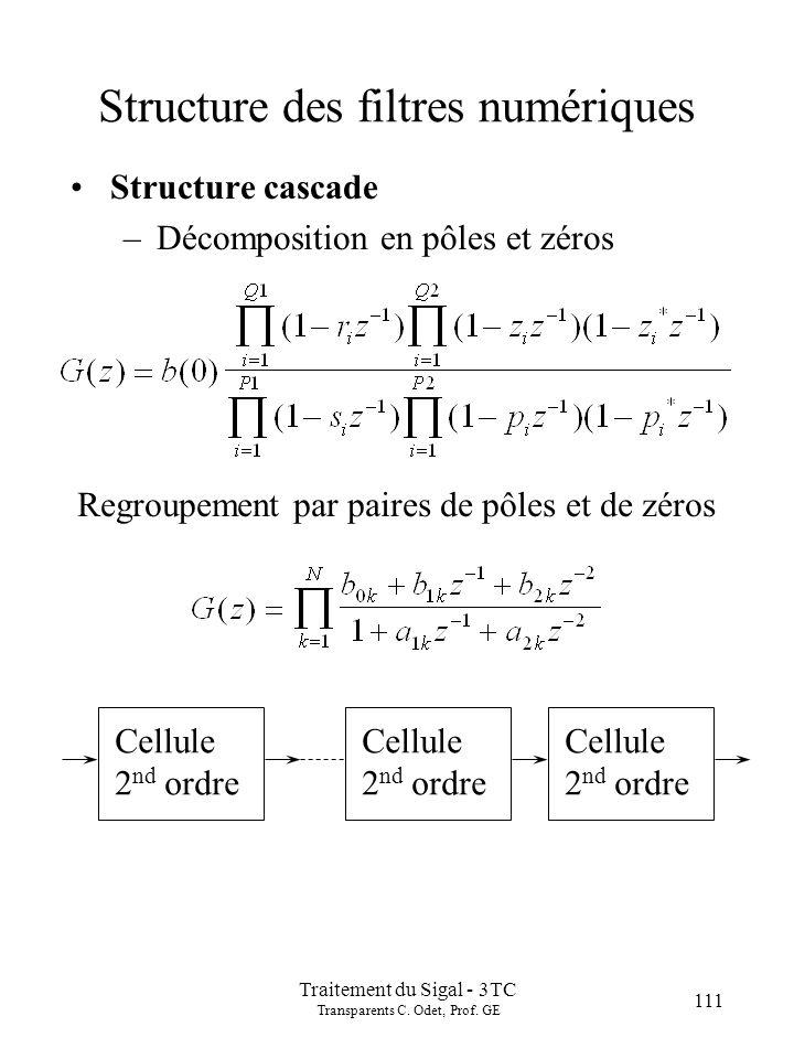 Traitement du Sigal - 3TC Transparents C. Odet, Prof. GE 111 Structure des filtres numériques Structure cascade –Décomposition en pôles et zéros Regro