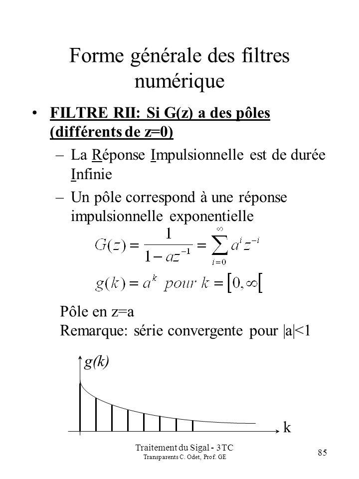 Traitement du Sigal - 3TC Transparents C. Odet, Prof. GE 85 Forme générale des filtres numérique FILTRE RII: Si G(z) a des pôles (différents de z=0) –