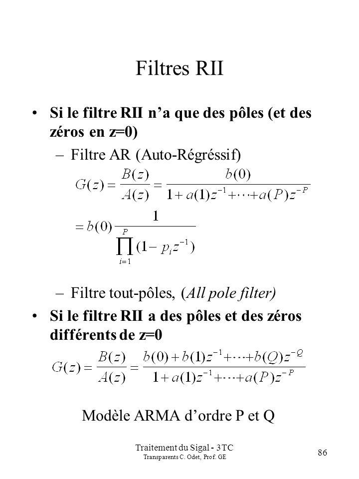 Traitement du Sigal - 3TC Transparents C. Odet, Prof. GE 86 Filtres RII Si le filtre RII na que des pôles (et des zéros en z=0) –Filtre AR (Auto-Régré
