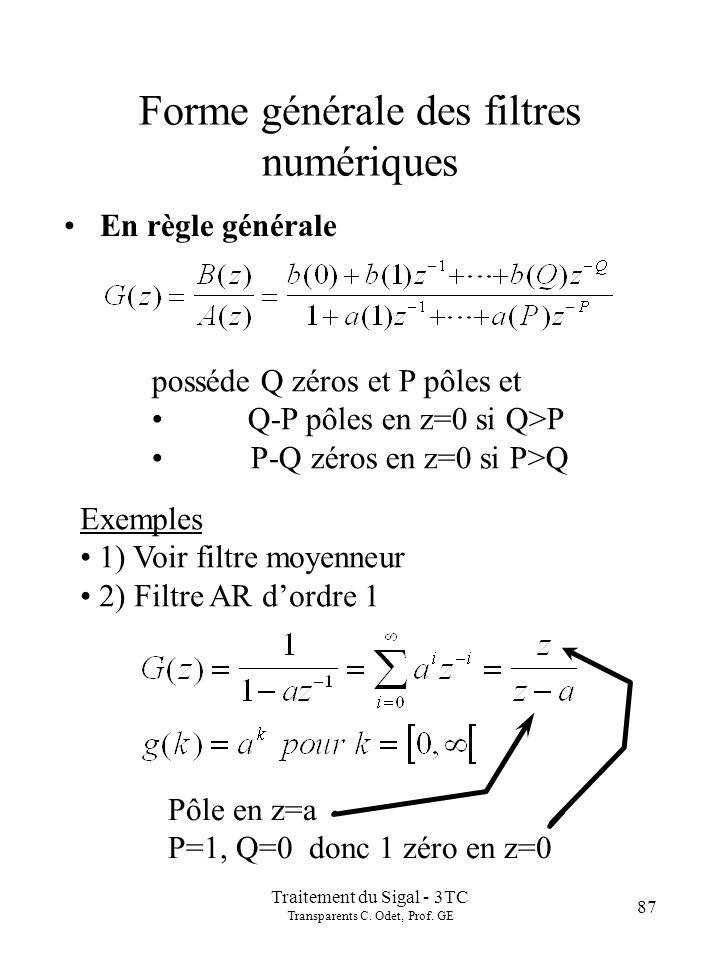 Traitement du Sigal - 3TC Transparents C. Odet, Prof. GE 87 Forme générale des filtres numériques En règle générale posséde Q zéros et P pôles et Q-P