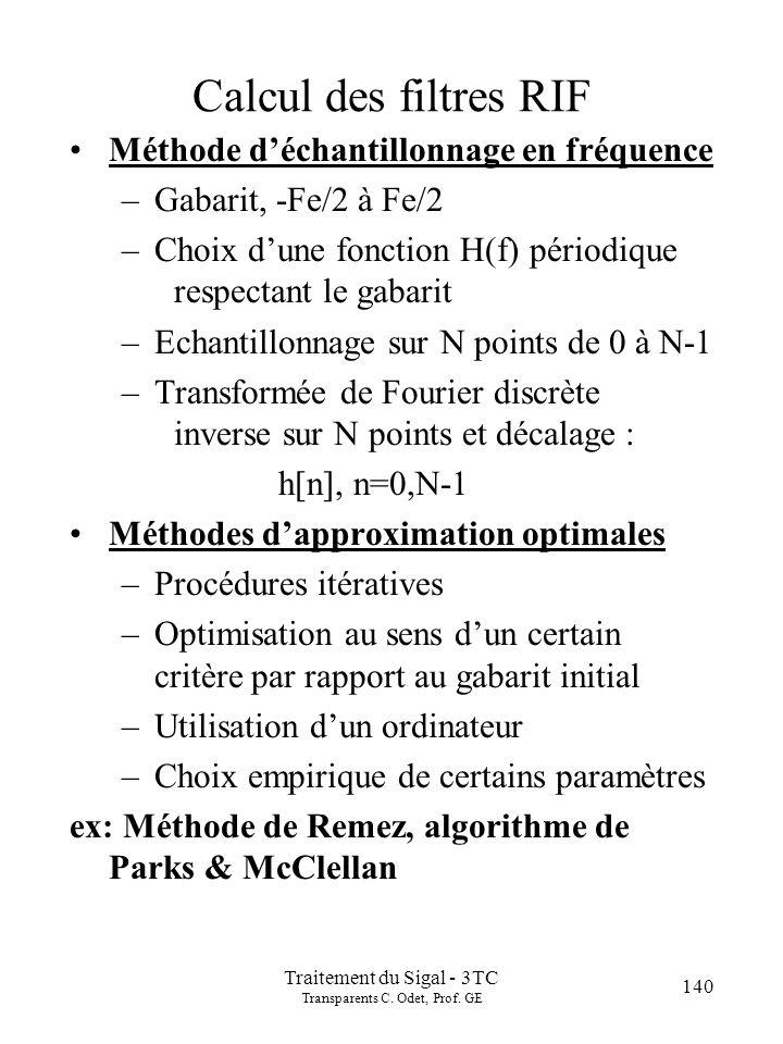140 Traitement du Sigal - 3TC Transparents C.Odet, Prof.