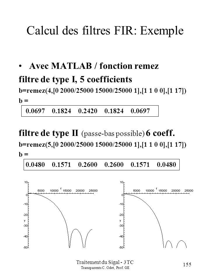 155 Traitement du Sigal - 3TC Transparents C.Odet, Prof.