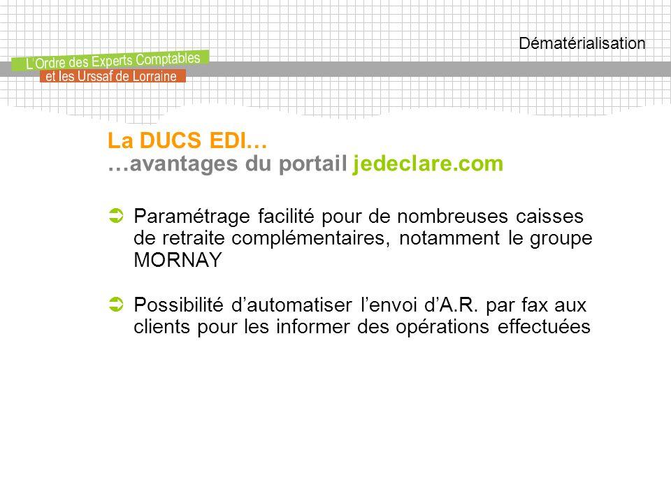 Dématérialisation …avantages du portail jedeclare.com Paramétrage facilité pour de nombreuses caisses de retraite complémentaires, notamment le groupe MORNAY Possibilité dautomatiser lenvoi dA.R.