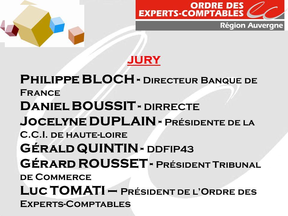 JURY Philippe BLOCH - Directeur Banque de France Daniel BOUSSIT - DIRRECTE Jocelyne DUPLAIN - Présidente de la C.C.I. de haute-loire Gérald QUINTIN -