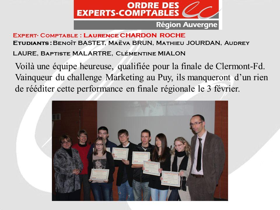 Expert- Comptable : Laurence CHARDON ROCHE Etudiants : Benoît BASTET, Maëva BRUN, Mathieu JOURDAN, Audrey LAURE, Baptiste MALARTRE, Clémentine MIALON