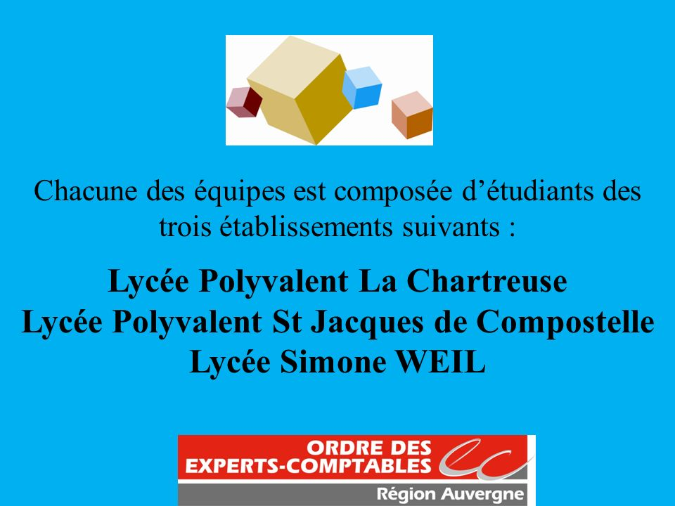 Chacune des équipes est composée détudiants des trois établissements suivants : Lycée Polyvalent La Chartreuse Lycée Polyvalent St Jacques de Composte